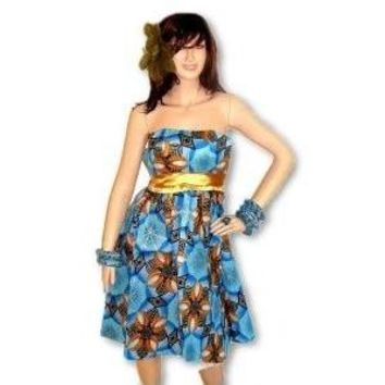 African Inspired  Blue And Gold Midi Dress