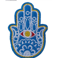 Hamsa Hand Iron / Sew On Embroidered Patch Fatima Badge Henna fish Embroidery | eBay