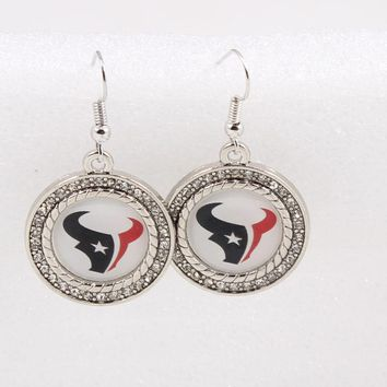 Sports Crystals Houston Texans American Football Fans earrings