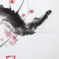 Cherry blossom, cherry blossom painting, wall decor, cherry blossom art, pink flower, spring flower, sumi-e, asian art, zen