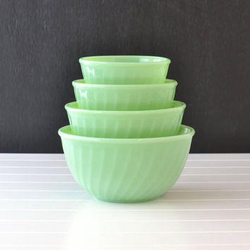 Fire King Jadeite -  Swirl Mixing Bowl - Jadite Anchor Hocking - Set of 4