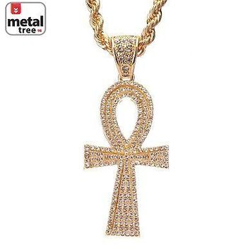 "Jewelry Kay style Men's 14k Gold Plated Egyptian Ankh Cross Pendant 30"" 5 mm Chain Set HC 5075 G"