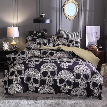 Cool 3pcs/lot Sugar Skull Printed Queen Comforter Sets Bedding King Twin Size Luxury Bed Duvet Cover Sheet Set Linen Home TextilesAT_93_12