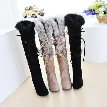 On Sale Hot Deal Matte Knee-length High Heel Rabbit Boots [11192812487]
