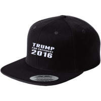 Trump 2016 Flat Bill High-Profile Snapback Hat