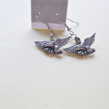 Eagle Pewter Charm Earrings
