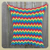 Rainbow Chevron Security Blanket Cotton~Ready to Ship~FREE SHIPPING