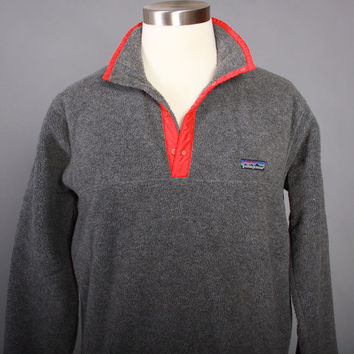 Vintage 90s Men's PATAGONIA Fleece JACKET / 1990s Gray Synchilla Snap T Pullover Tsnap