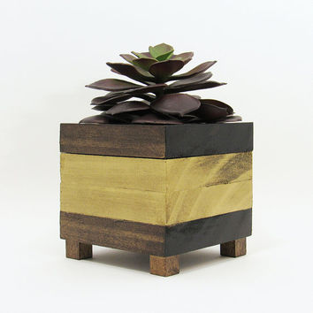 Succulent Planter, Modern Planter, Wood Planter, Geometric Planter, Succulent Pot, Air Plant Holder, Planter Box, Indoor Planter, Gold