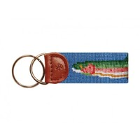 Big Trout Needlepoint Key Fob in Blue by Smathers & Branson