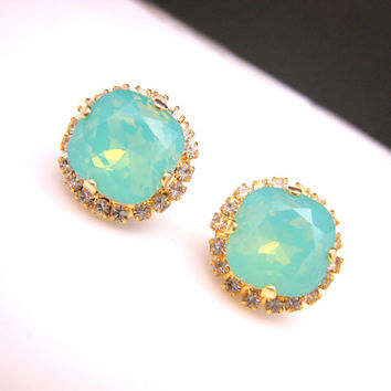 briddesmaid gift mint Swarovski pacific opal square foiled crystal rhinestone gold stud earrings with clear white stone setting christmas