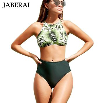 Green Print High Neck Swimwear Bathing Suit High Waist Brazilian Bikini