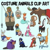 Halloween Costume Animals Clip Art | Trick or Treat Clipart | Fox, Badger, Skunk