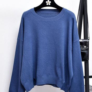 Casual Solod Color O-neck Knitted Sweaters For Women