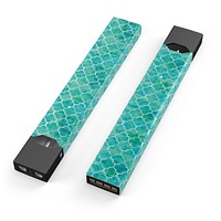 Skin Decal Kit for the Pax JUUL - Blue-Green Watercolor Quatrefoil