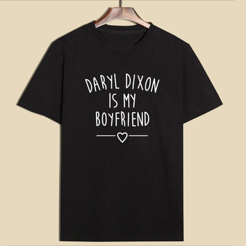 Black 2017 New The Walking Dead Daryl Dixon Is My Boyfriend T-shirt Women's Fashion