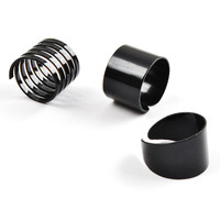 Women 3pcs/Set Punk Style Spiral Open Stacking Cool Black Adjustable Rings