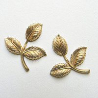 Brass Leaf, Raw Brass Stamping, Brass Finding, Dapped Dapt 26mm x 29mm - 6 pcs. (r284)