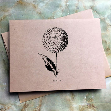 Set of 8 Floral Illustrations Stationery - Kraft Paper Folding Note Cards and Envelopes - Eight Blank Botanical Note Cards - Peony - Tulip