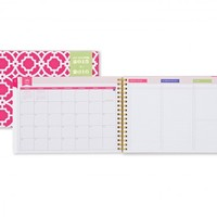 Day Designer Pink Trellis Weekly/Monthly 8 x 5.875 Planner July 2015 - June 2016