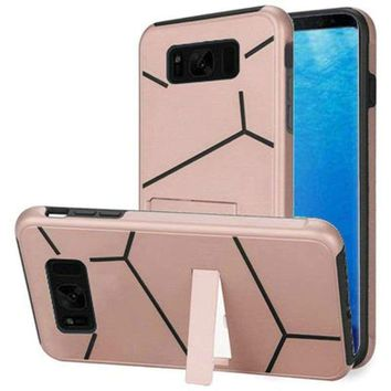 Samsung Galaxy S8 Slim HLX Hybrid Phone Case with Kickstand, Rose Gold/Black