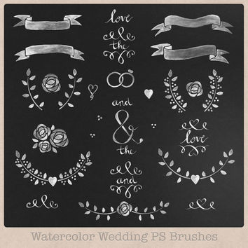 High resolution Chalk or Watercolor Wedding Photoshop Brushes and Clipart Laurels and Banners hand drawn painted invitations scrapbooking