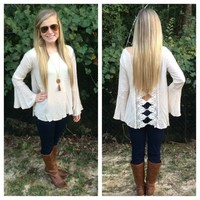 Crochet Back Blouse - Ivory from Something Cute Boutique