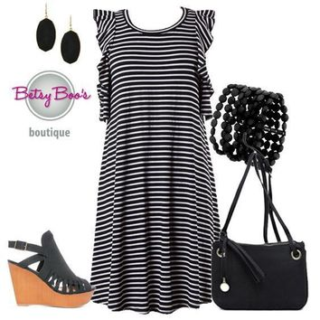 (pre-order) Set 447: Black Striped Ruffle Sleeve Cool Shoulder Dress (bag and shoes sold separately)