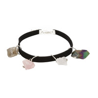 Blackheart Multi Raw Crystal Suede Choker
