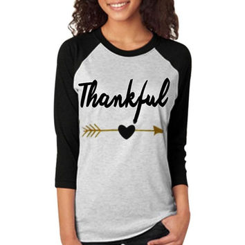 T-Shirts Women  Thankful Letter Printed Three Quarter Sleeve Women T shirt  Splicing Tee Shirt Femme BL