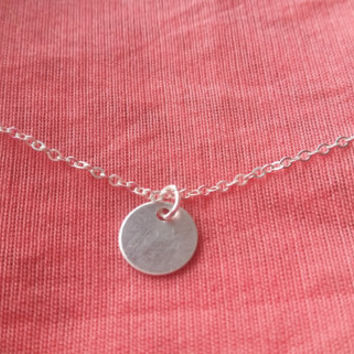 Tiny Disc Necklace,Custom Initial necklace, Sterling silver charm necklace, Handstamped charm necklace,Personalised necklace
