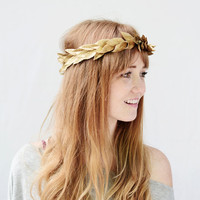 Unisex Gold Leaf Crown - Gold Leaf Headband, Greek Goddess, Grecian Headpiece, Leaf Circlet, Toga Costume, Greek Headband, Leaf Crown, Tiara