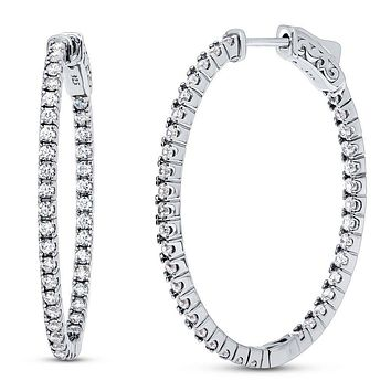 Perfect Pave Set 2.22TCW Russian Lab Diamond Hoop Earrings