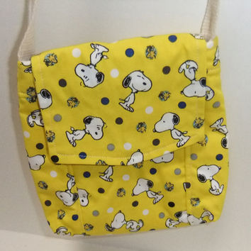 Small Messenger Bag - made by me with licensed Peanuts Snoopy on yellow print - crossover purse
