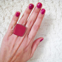 Fuchsia pink statement ring, magenta berry rose hot pink cocktail big simple modern silver glass dome adjustable greek jewelry custom