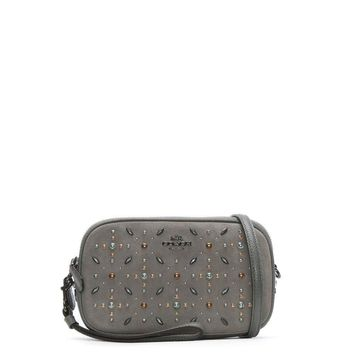 COACH Womens Crossbody Clutch in Suede Leather with Prairie Rivets