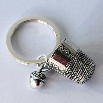 Antique Thimble Solid Sterling Silver Key Ring, Peter Pan and Wendy Hidden Kisses