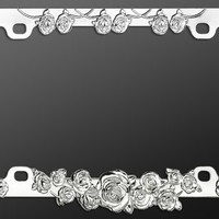 Chrome Roses Metal License Plate Frame Car Truck Van Suv