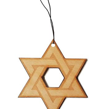Star of David Laser Engraved Wooden Rear View Mirror Car Charm Dangler