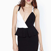 Black And White Criss-Cross Peplum Dress