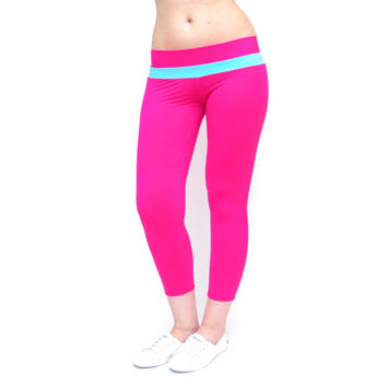 Pink yoga pants crop pink leggings crop workout pants