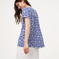Floral Tile Back Pleat Top | LOFT