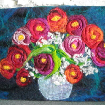 flower art, textile wall art, wet felted picture