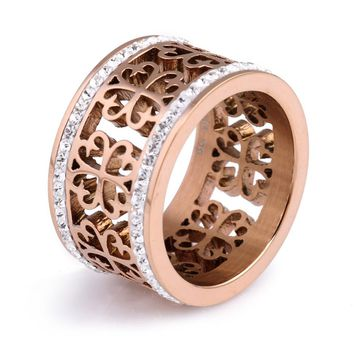 Fashion Trendy Flower Vintage Wedding Rings For Women Classic Design Rose Gold Color Stainless Steel 2 Row Zircon Crystal Ring
