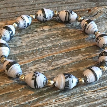 Paper Bead Bracelet, Black/White Bead Bracelet, Paper Bead Jewelry, Stretchy Bracelet, Gift for Women, Stocking Stuffer - Item# 064