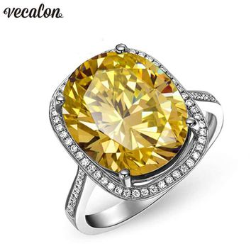 Vecalon Handmade Big Wedding Band Ring For Women Oval Cut 10Ct Aaaaa Zircon Cz White Gold Filled Female Engagement Rings