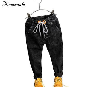 Xemonale Fashion Kids Jeans 2018 Children's Clothing Girls Jeans Thicken Warm Baby Boys Cowboy Trousers Casual Childrens Pants