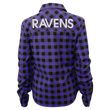 Juniors' Baltimore Ravens Buffalo Plaid Flannel Shirt