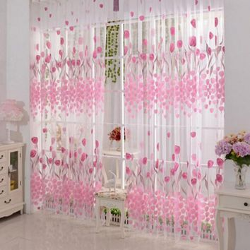 Free shipping Tulip Printed Tulle Voile Door Window Curtain for living room Sheer Drape Panel 200 x 100CM