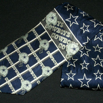 Vintage Dallas Cowboys Tie NFL Team Ralph Marlin RM Sports Football Super Bowl Champions Collection Football Necktie Blue 100% Silk Mens